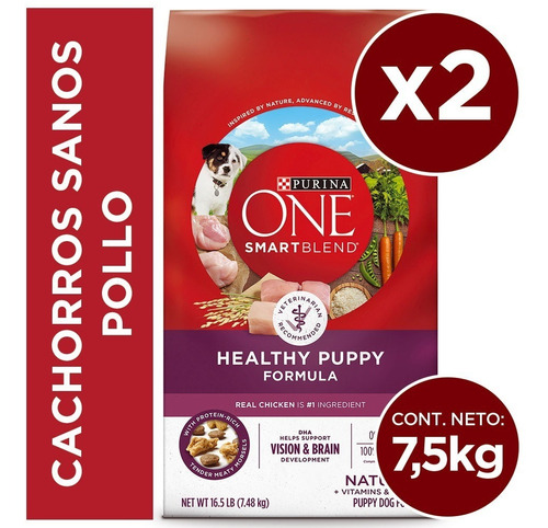 pack purina one® cachorros pollo 7,5 kg