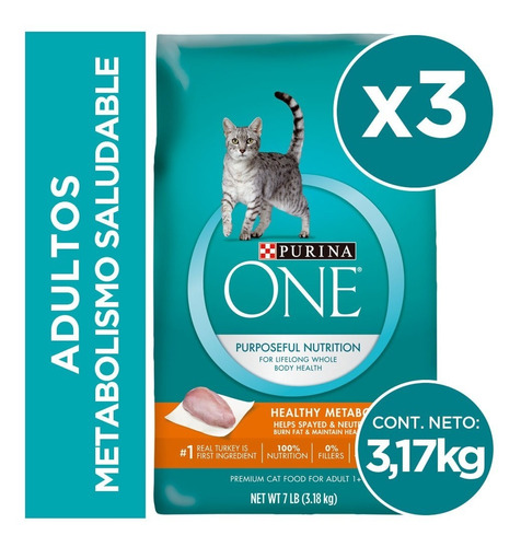 pack purina one® gato metabolismo saludable 3,17 kg
