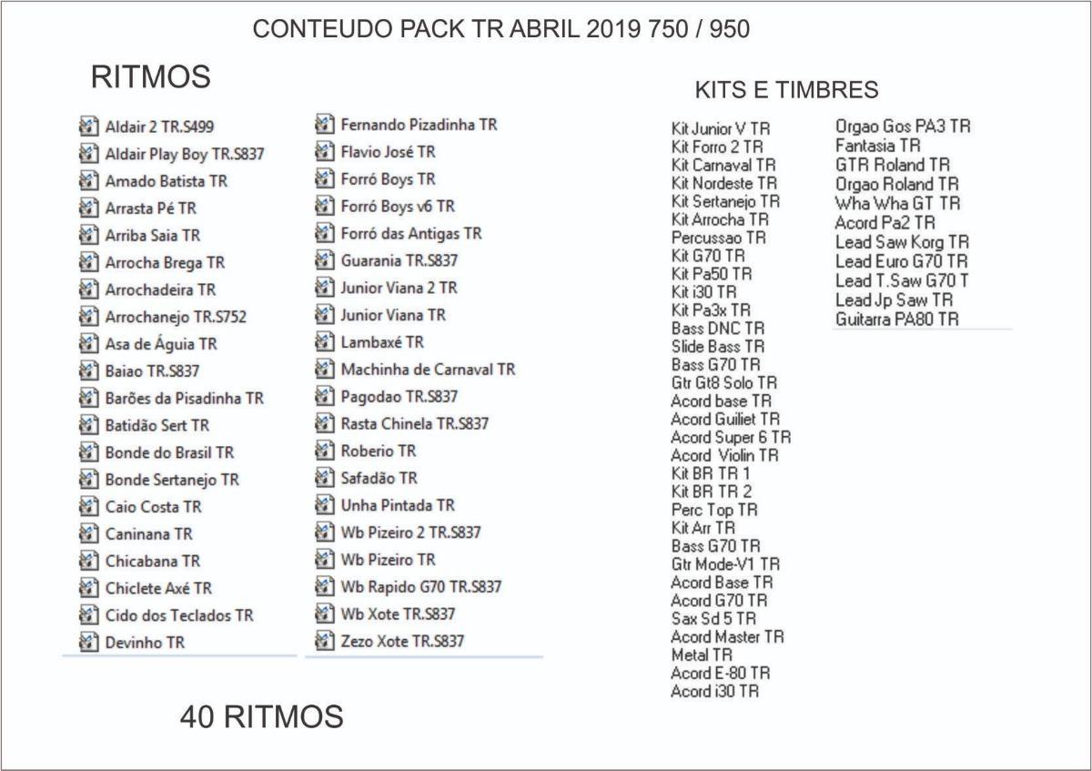 Pack Samples Ritmos Tr Sample 2019 Para Yamaha Psr S750 950