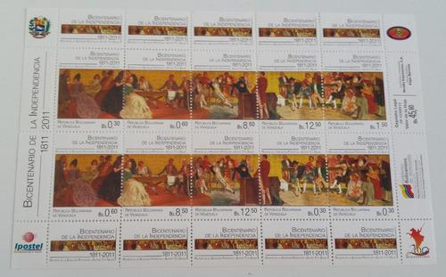 pack sellos venezuela 2 hojas bicentenario independencia