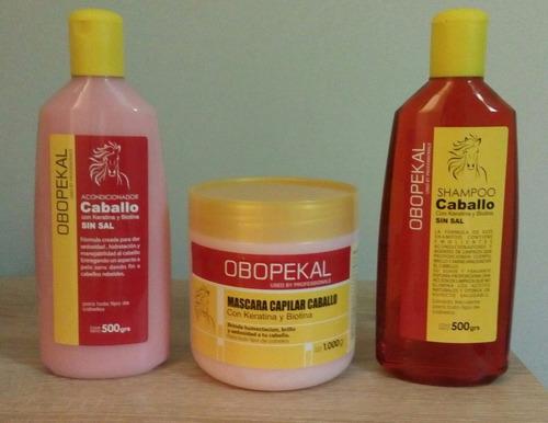 pack shampoo + balsamo + crema de caballo.