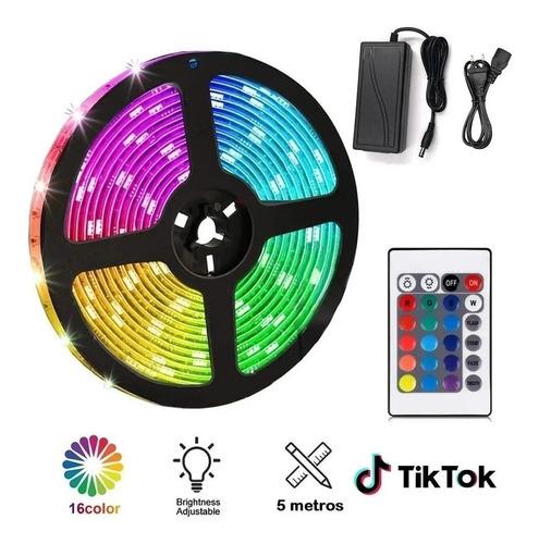 pack tiktok: cinta luces led colores + control + adaptador