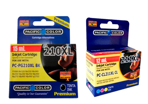 pack tinta   210bk -211 cl xl -  alternativa pacific color