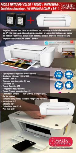 pack tintas 664 negro y color + impresora deskjet hp 1115