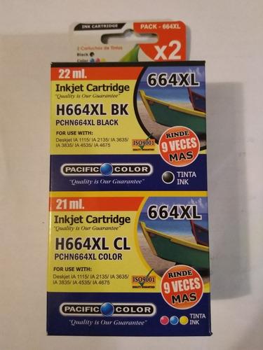 pack  tintas hp 664 xl negro y color alternativo valparaiso