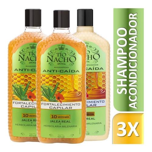 pack tío nacho herbolaria 02 shampoo + 01 acond. 415 c/u