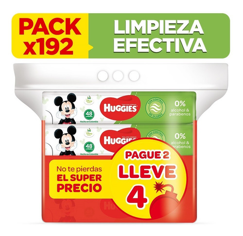 pack toallitas húmedas huggies active fresh 192 unid