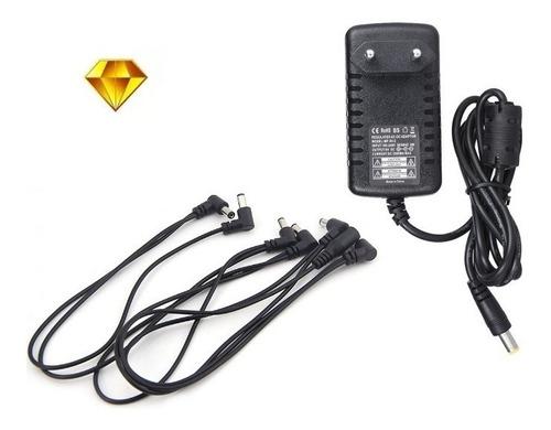 pack transformador 9v + daisy chain 6 salidas para pedales