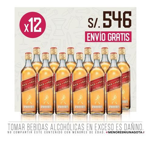 pack whisky johnnie walker red label x 12 - 750 ml c/u