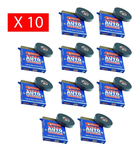 pack x 10 cinta autosoldable tacsa 19mm x 0,76mm x 9,14mt