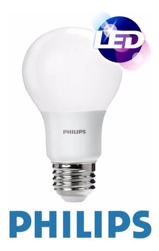 pack x 10 lampara 6w 7w led philips blanco frio =50w ahorro