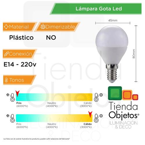 pack x 10 lampara gota led  6w = 40w calida fria deco e14