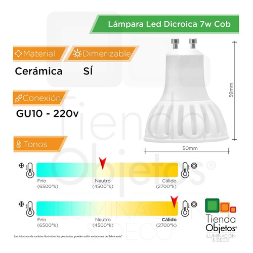 pack x 10 lampara led dicroica 7w cob dimerizable gu10 220v