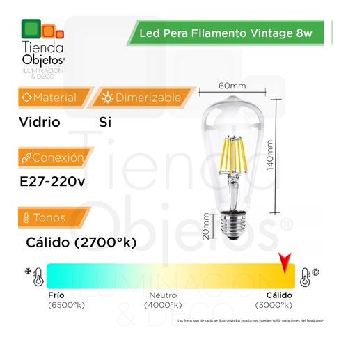 pack x 10 lampara led pera filamento vintage 8w dim cuotas