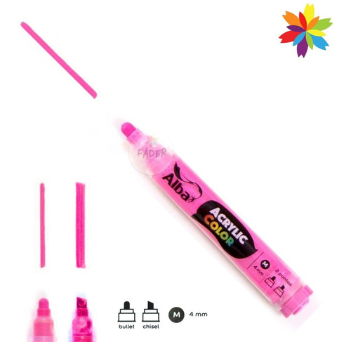 pack x 10 marcador alba acrylic color 4 mm interc. recargabl