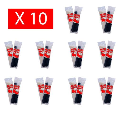 pack x 10 precintos plasticos tacsa 100 u. 100mm x 2,5mm