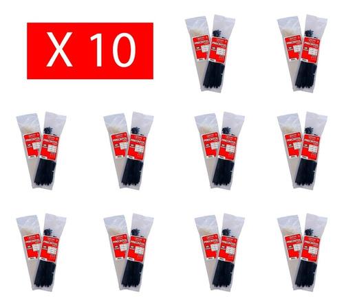 pack x 10 precintos plasticos tacsa 100 u. 250mm x 4,6mm