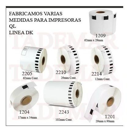 pack x 10 rollo dk1201  ql800 td1201 brother + eje dk-1201