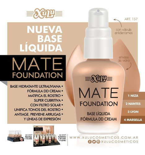pack x 12 base líquida mate foundation xúlu z8157 z157