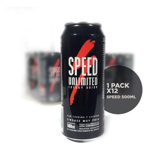 pack x 12 latas speed unlimited energizante 500ml