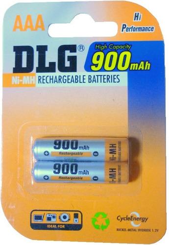 pack x 2 pilas recargables dlg aaa 900 mah - deltero