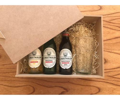 pack x 3 cervezas sin alcohol importadas caja regalo + vaso