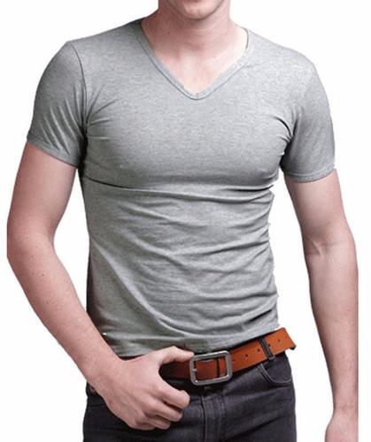 pack x 3 remeras entalladas slim fit de hombre escote v