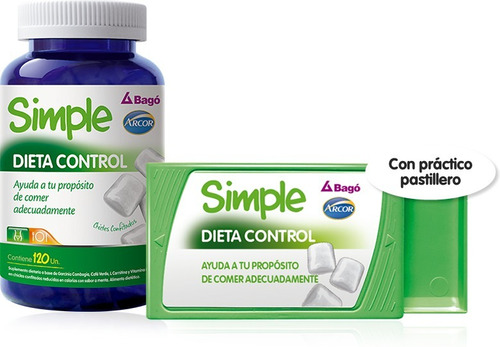 pack x 3 simple dieta control x120 chicles c/u arcor bagó