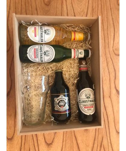 pack x 4 cervezas sin alcohol importadas caja regalo + vaso