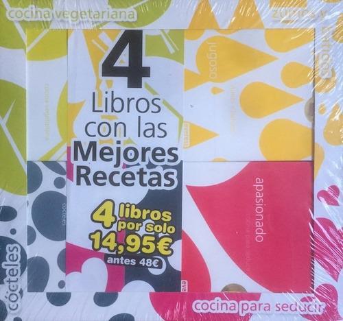 pack x 4 libros cocina vegetariana cócteles etc - nuevos