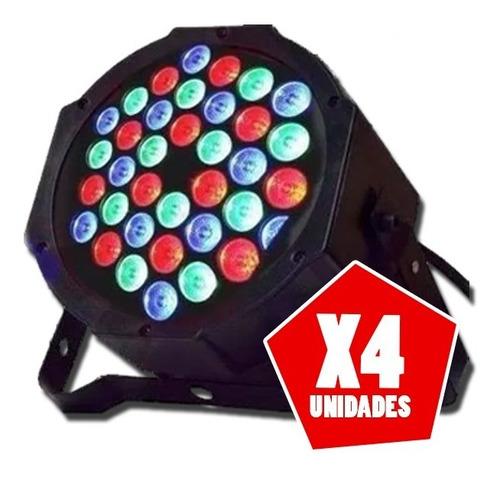 pack x 4 luz proton par 36 led alta  rgb audioritmico dmx