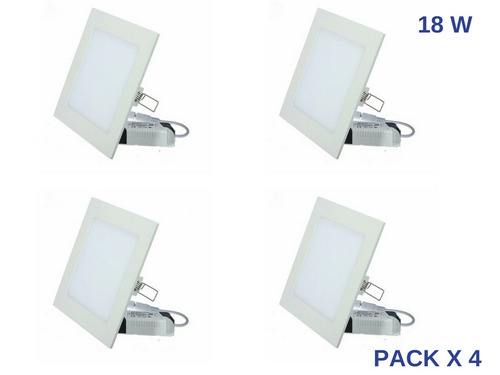 pack x 4 panel spot plafon led cuadrado 18w embutir calida