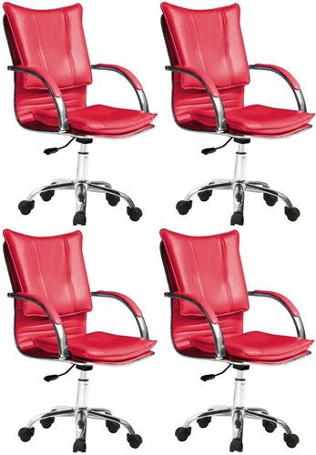 pack x 4 sillas giratorias de oficina o escritorio ch626p4