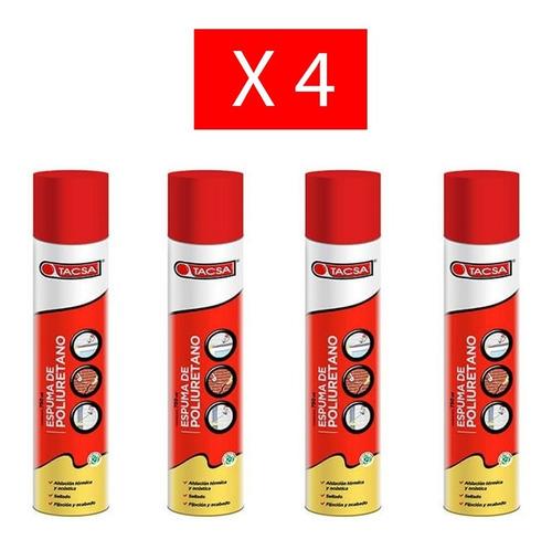 pack x 4 tacsa espuma de poliuretano expandido 750 ml
