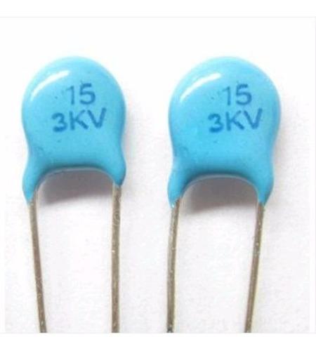 pack x 5 3kv 15pf 15j condensadores ceramicos alta tension
