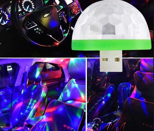 pack x 5 esfera magica usb audioritmica rgb media bola auto