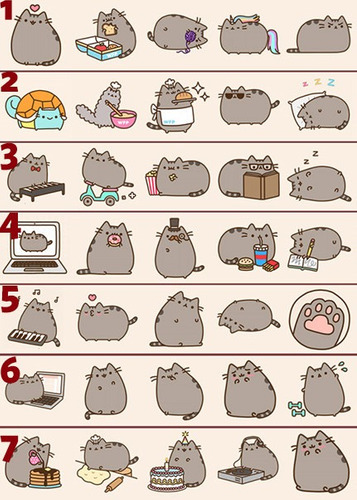pack x 5 stickers de pusheen