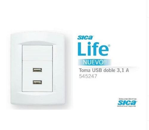 pack x 6 llave de luz 1 pulsador completa life blanco sica