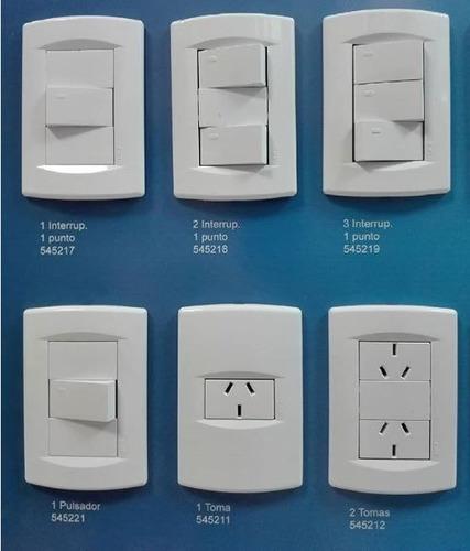 pack x 6 llave de luz 2 tomas simples completa life sica