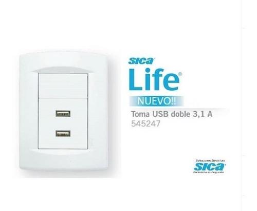 pack x 6 llave de luz armada 1 toma tv life blanco sica