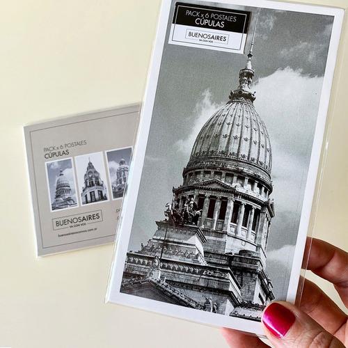 pack x 6 postales foto cúpulas buenos aires