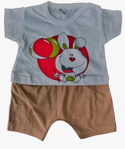 pack x mayor ropa bebe 4 conjuntos remera - pantalón corto