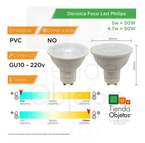 pack x10 dicroicas led philips gu10 5w = 50w calidas frias