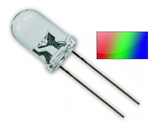 pack x10 led rgb 5mm 2 patas anodo alto brillo autocambiante