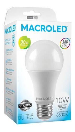 pack x10 macroled lampara led bulbo a60 10w bco frío e27