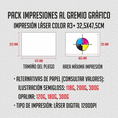 pack x100 a3+ impresiones al gremio grafico