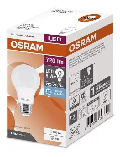 pack x100 lampara led 9w = 75w osram luz fría- elect. avella