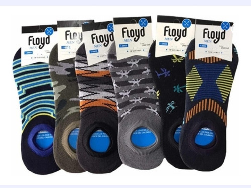 pack x12 floyd soquete invisible hombre liso/estampa a. 1415