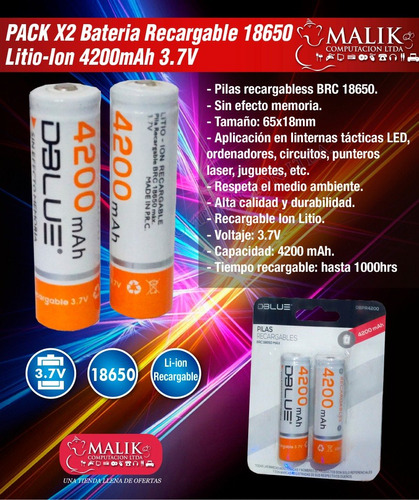 pack x2 bateria recargable 18650 litio-ion 4200mah 3.7v