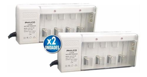 pack x2 cargador de baterias 9v pilas aa aaa c d recargables